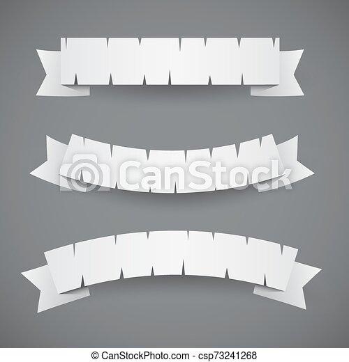 bianco, bandiere, carta, ondulato, nastri, o, set - csp73241268