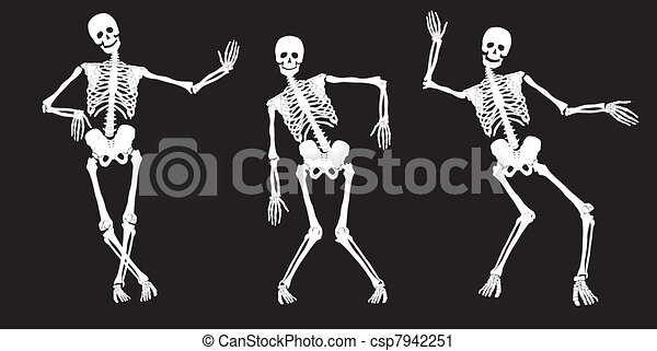 bianco, black., ballo, scheletri - csp7942251
