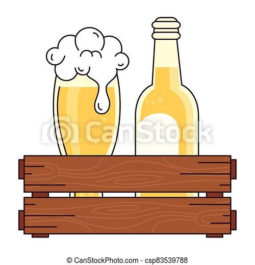 bianco, bottiglia, scatola, legno, vetro, fondo, birra - csp83539788