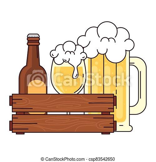 bianco, bottiglia, tazza, scatola, legno, boccale vetro, fondo, birra - csp83542650