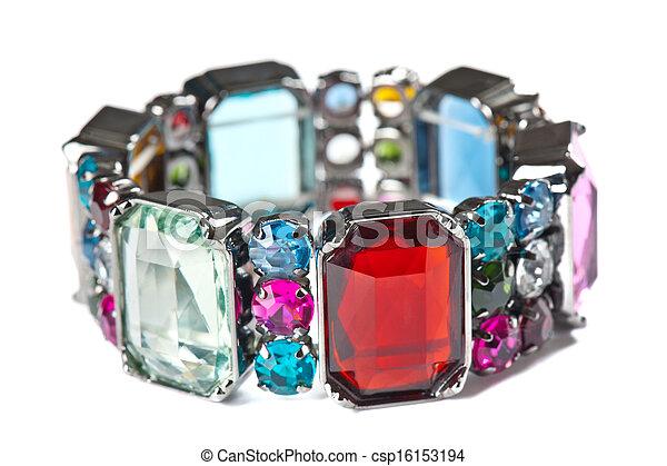 bianco, braccialetto, colorito, fondo - csp16153194