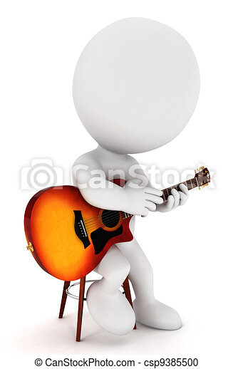 bianco, chitarrista, 3d, persone - csp9385500