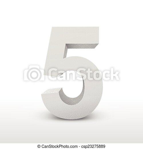 bianco, cinque, numero, struttura - csp23275889