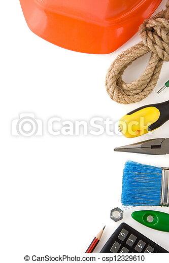 bianco, costruzione, attrezzi, isolato - csp12329610