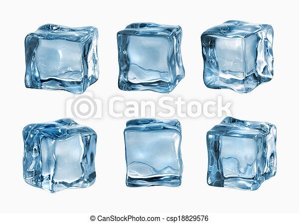 bianco, cubi, isolato, ghiaccio - csp18829576