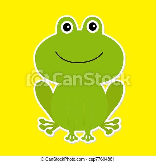 bianco, frog., verde, cartone animato, fondo., carino - csp77604881