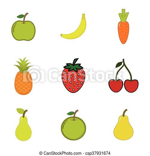 bianco, frutta, set, fondo - csp37931674