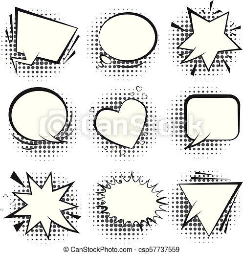 bianco, halftone, discorso, retro, bolle, comico - csp57737559