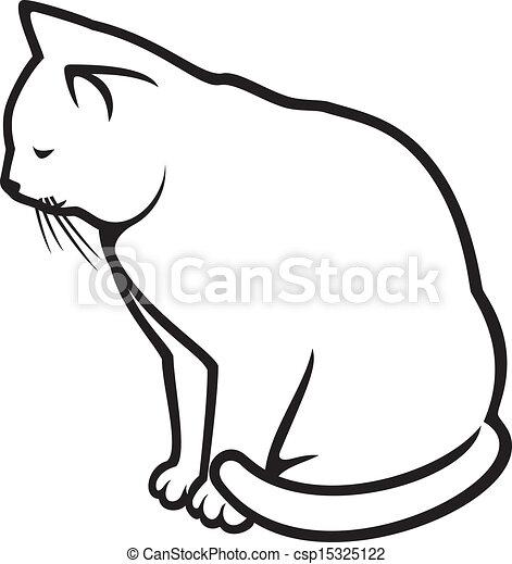 bianco, -, illustrazione, gatto - csp15325122