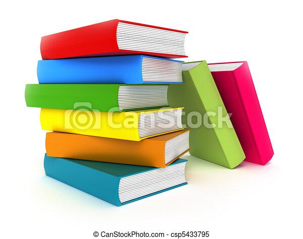 bianco, libri, isolato, colorito - csp5433795