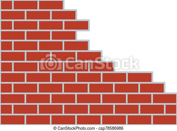 bianco, marrone, muro di mattoni, fondo. - csp78586986