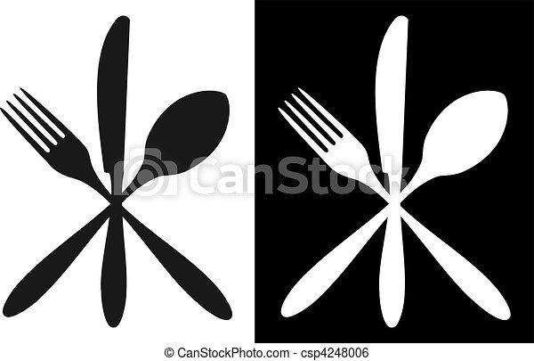 bianco, nero, coltelleria, icone - csp4248006