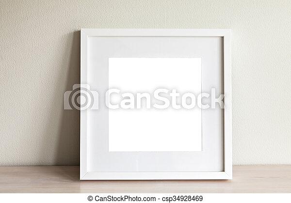 bianco, quadrato, cornice, mockup - csp34928469
