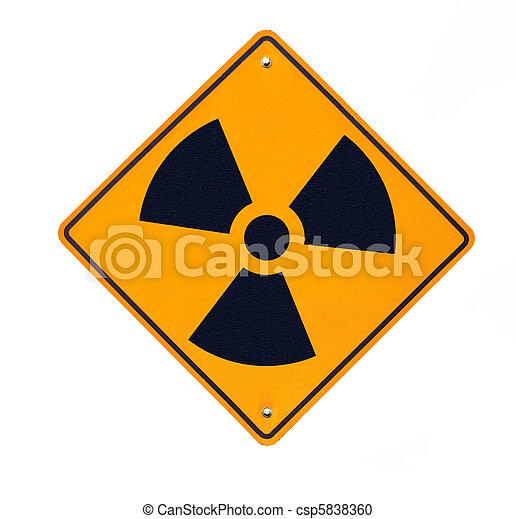 bianco, radioattivo, isolato, segno strada - csp5838360