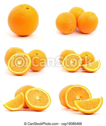 bianco, set, isolato, arance - csp19086466