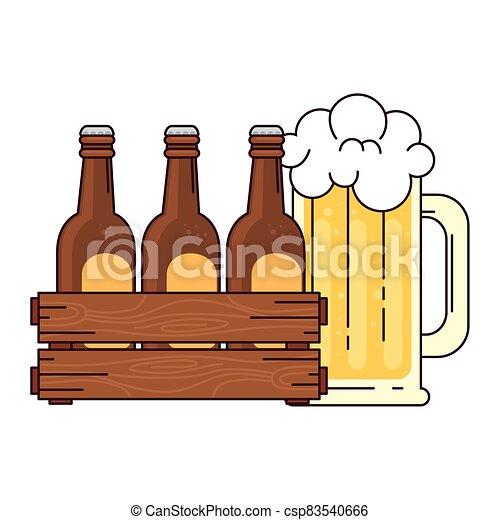 bianco, set, scatola, legno, boccale vetro, fondo, birre, birra - csp83540666