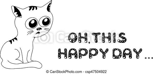 bianco, triste, gatto nero - csp47504922