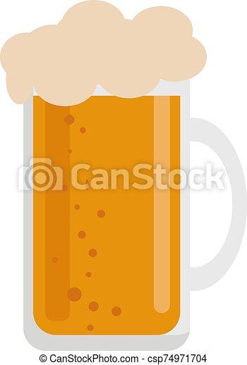 bianco, vettore, vetro birra, illustrazione, fondo. - csp74971704