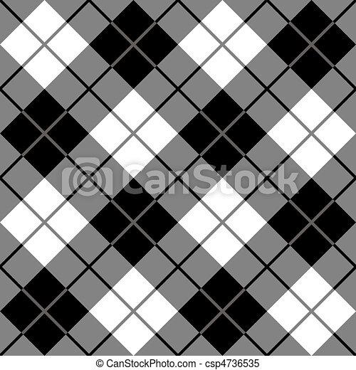 Bias Plaid in Black and White - csp4736535