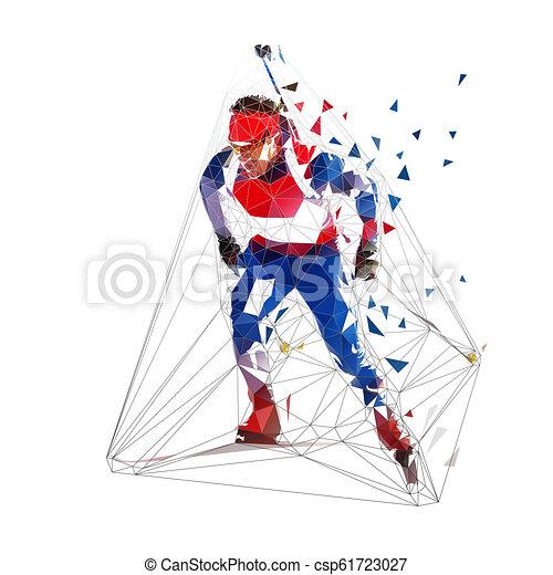 Biathlon skiing, low polygonal skier in blue jersey. Isolated vector illustration - csp61723027