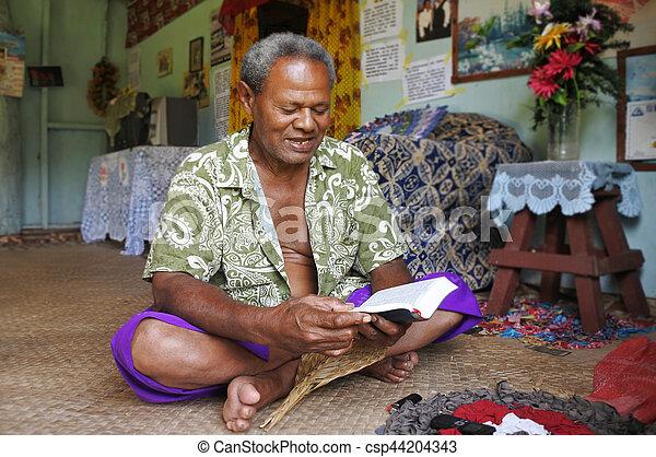 bibbia, indigeno, leggere, fijian, figi, uomo - csp44204343