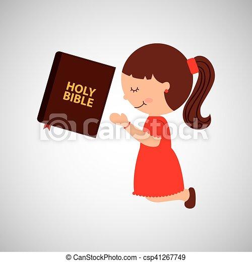 Bibbia santo disegno ragazza pregare cartone animato bibbia