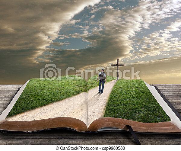 Öffnen Sie die Bibel mit Menschen und Kreuz - csp9980580