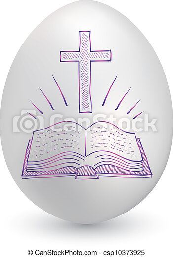 Bible and cross easter egg - csp10373925