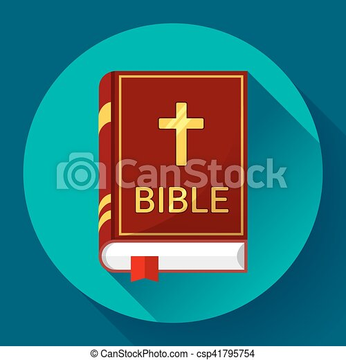 bible icon with long shadow - csp41795754