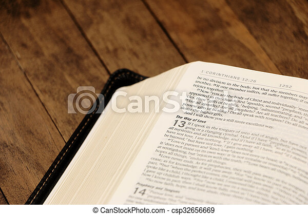 Bible on a Wooden Table - csp32656669