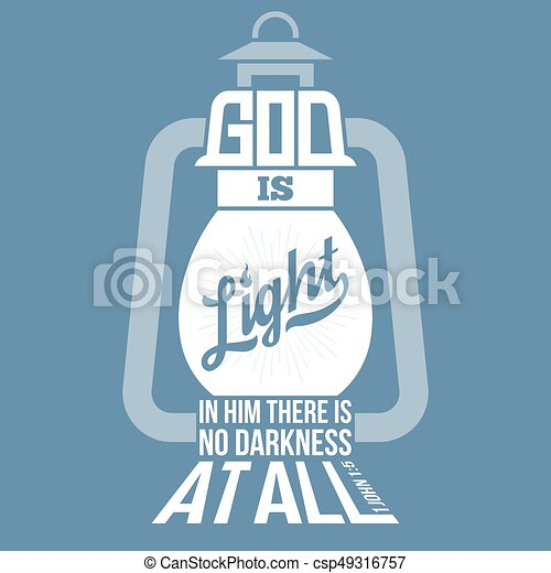 Bible Quotes, God Is Light In Vintage Lamp Shape, From New Testament From  John