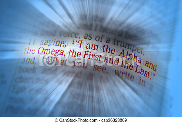 Bible text I am the Alpha and the Omega - csp36323809