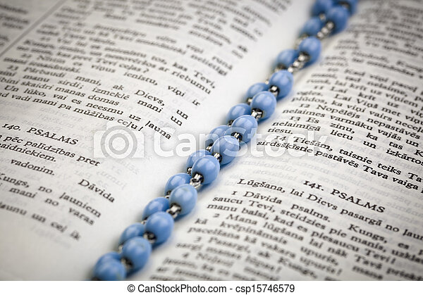 Bible with rosary - csp15746579