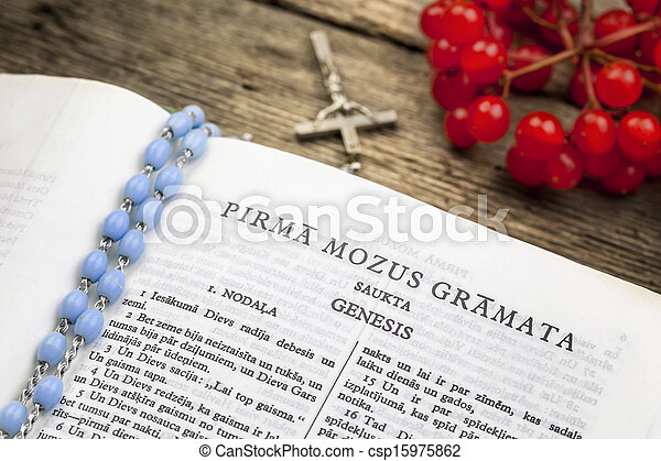 Bible with rosary - csp15975862