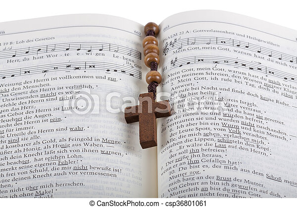 Bible with rosary - csp36801061