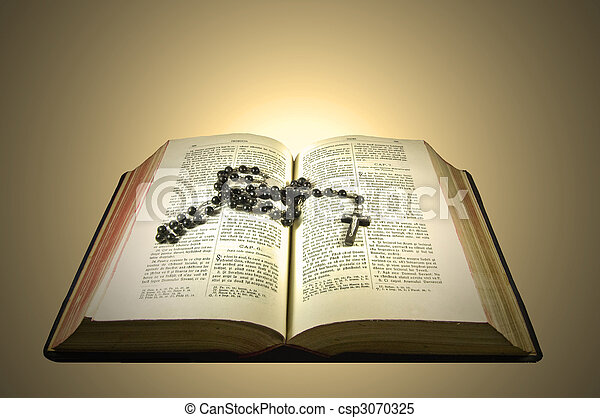 bible with rosary - csp3070325
