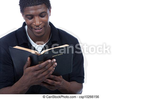 biblia, czarnoskóry, czytanie, człowiek, młody - csp10266156