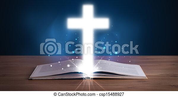 biblia, jámbor, kereszt, középső, izzó, nyílik - csp15488927