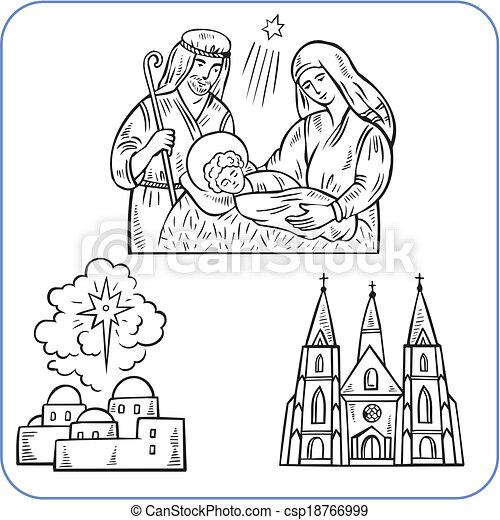 Biblical scene  - vector illustration. - csp18766999