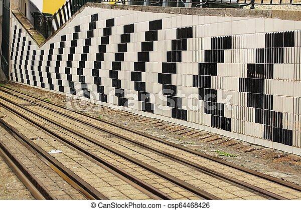 Bica Elevator Rails In Lisbon Portugal