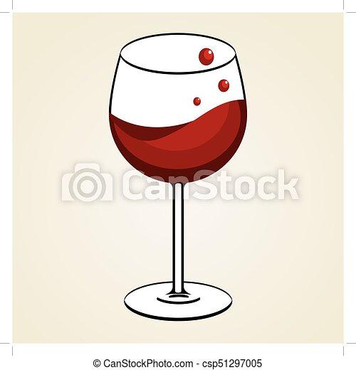 Weinglas rotwein. Weinglas mit rotwein-ikone.