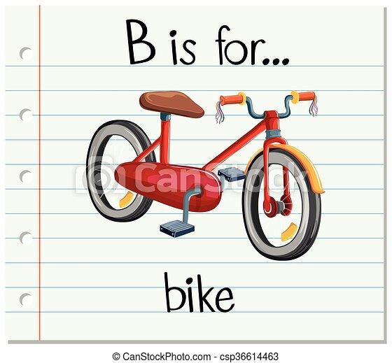 bicicleta, b, letra, flashcard - csp36614463