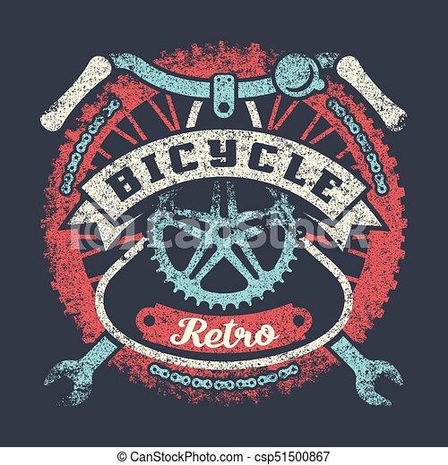 Afiche vintage de bicicletas con partes y cinta - csp51500867
