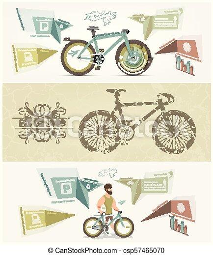 Pancarta de bicicleta para diseño de vectores de facebook - csp57465070