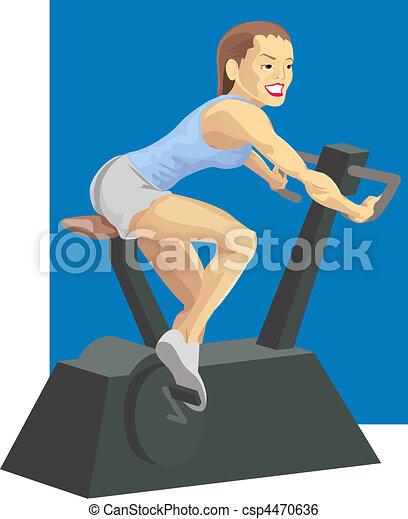 Mujer en bicicleta de ejercicio - csp4470636