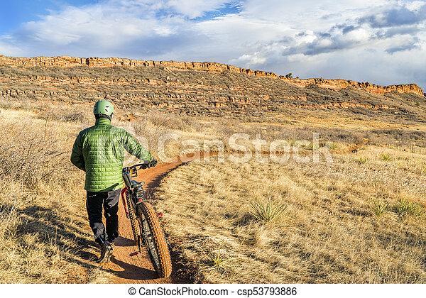bicicleta equitação, colorado, gorda, foothills - csp53793886