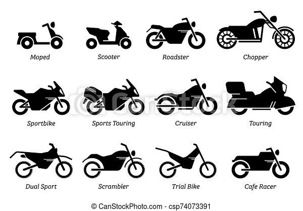 bicicleta, motocicleta, motocicleta, diferente, set., lista, ícone, tipo - csp74073391