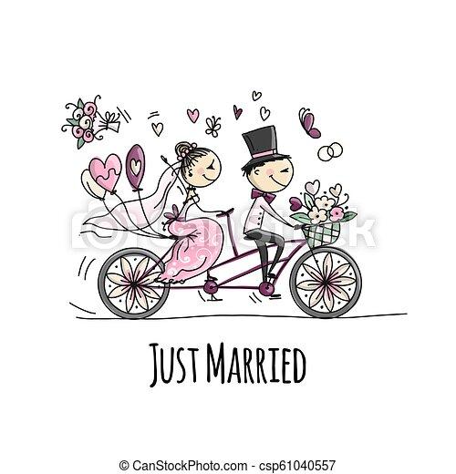 Bicicleta Noivo Noiva Casorio Montando Cartao Design Noivo