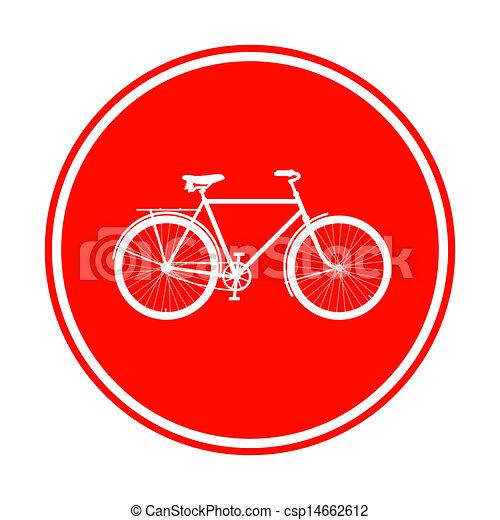 Signo de bicicleta roja - csp14662612