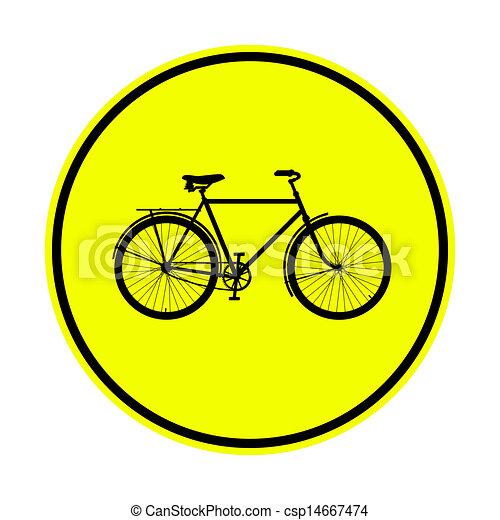 Signo de bicicleta amarilla - csp14667474